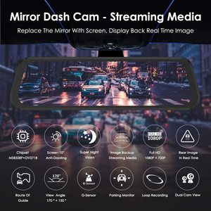 """Image 2 - AZDOME 10"""" Mirror Dash Cam for Cars with Full Touch Screen, Waterproof Backup Camera Rear View Mirror Camera, Night Vision"""