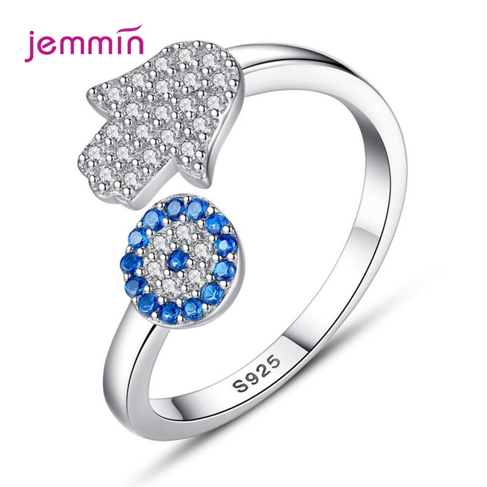 Top Selling Fashion Blue Cubic Zircon Finger Accessories 925 Sterling Silver Hand Rose Flower Adjustable Open Ring For Women