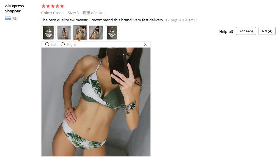 セクシーなプッシュアップビキニ葉プリント水着女性の夏の水着女性ホルターネック biquini ビーチウェアビキニ mujer talla グランデ