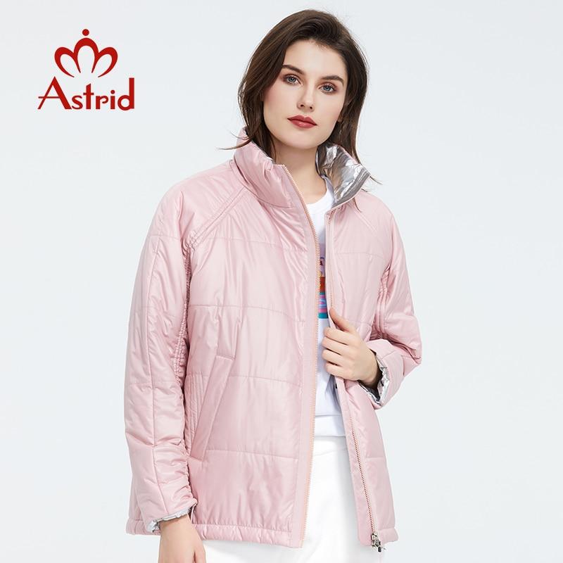 Astrid 2020 Spring Women Parka  Tide Brand  Coat Warm Jacket  Thin Cotton Bright Colors  Short  Coat   Standing Collar  ZM-3053