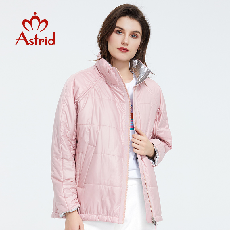 Astrid 2020 Spring Women   Parka   Tide brand Coat Warm Jacket Thin Cotton Bright Colors Short Coat Standing Collar ZM-3053