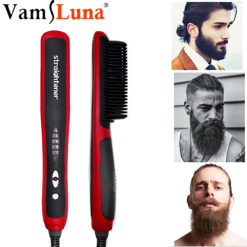 Beard Straightener Portable Men Fast Beard Comb LED Display Ceramic Heating Anti-Static Anti-Scald Comb