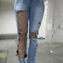 Summer Fashion Hole Jeans 2019 Women Sexy Distressed Chain Destroyed Ripped Boyfriend Jeans Jeans Women недорого