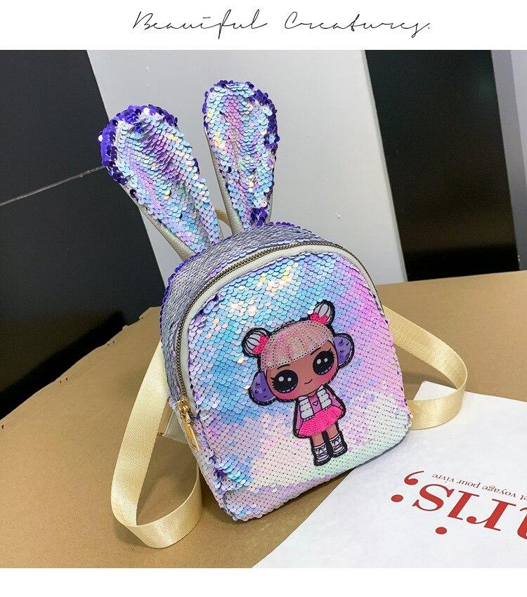 Women MINI Sequins Backpack Glitter Travel Rucksack Girl School Shoulder Bag Girls Cute Cartoon Backpacks