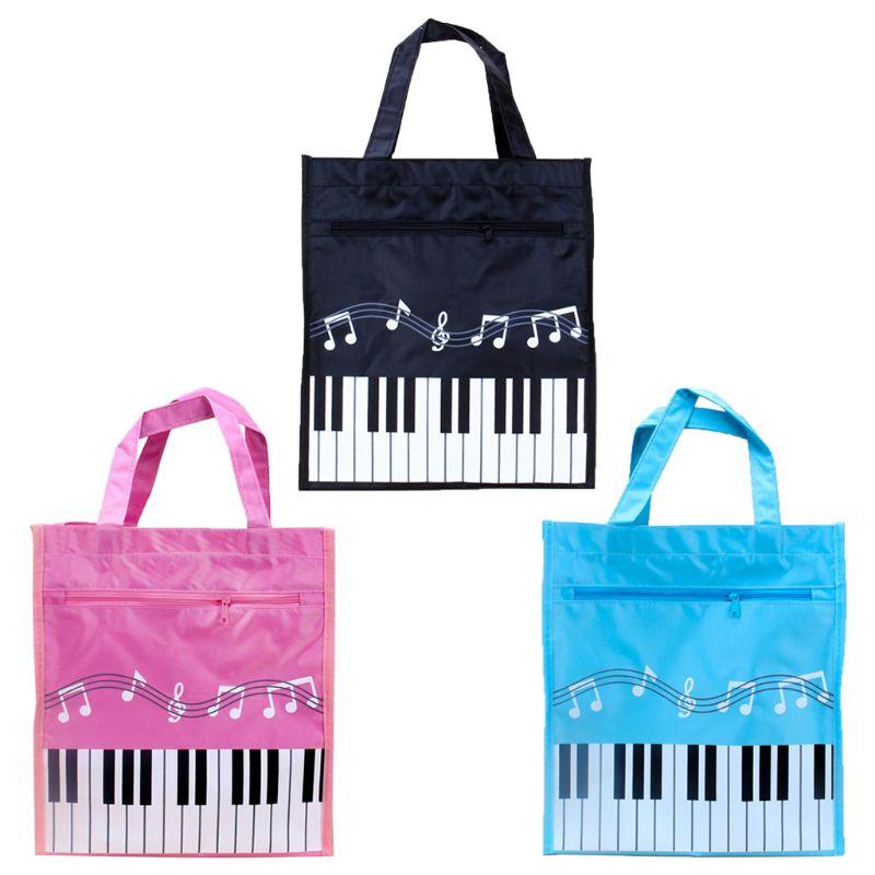 OOTDTY Piano Keyboard Music Note Women Tote Handbag Shoulder Shopping Bag Waterproof Oxford Cloth Large Capacity