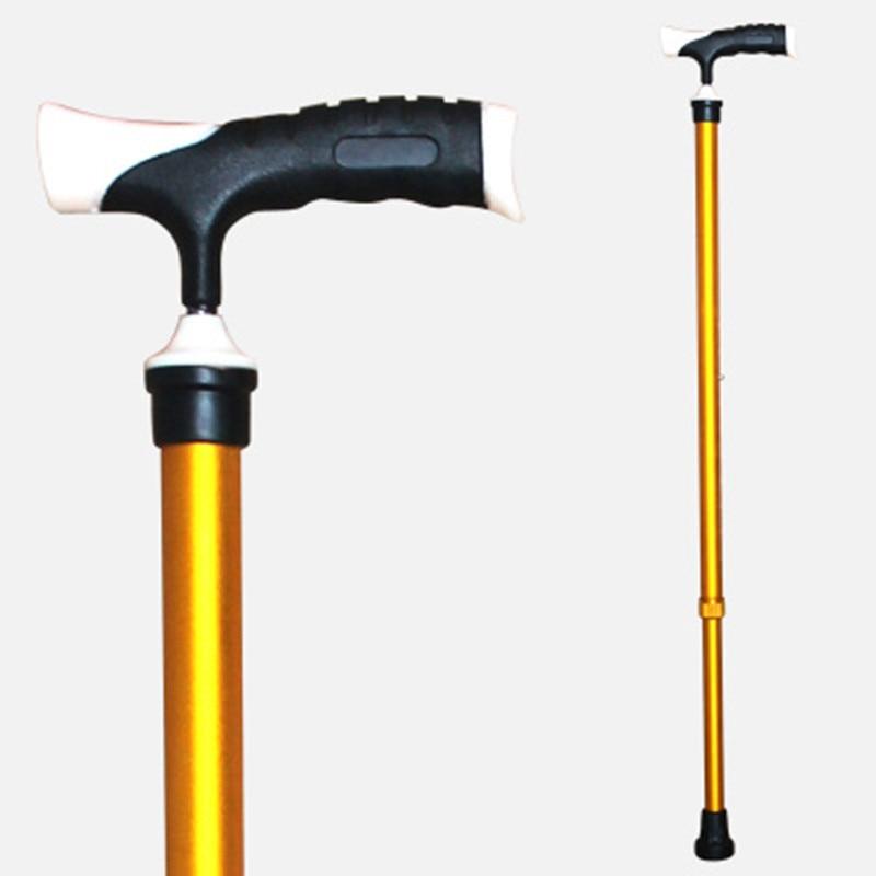 Elderly Aluminium Alloy Anti-slip Telescopic Single Crank Crutch Alpenstock Gentleman Wand Height Adjustable Ultra-Light Walking