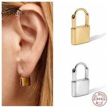 EINDOSER Kreative Persönlichkeit Ohrringe 925 Sterling Silber Stud Ohrringe Für Frauen Schloss förmigen Piercing Ohrring Ohrringe Schmuck
