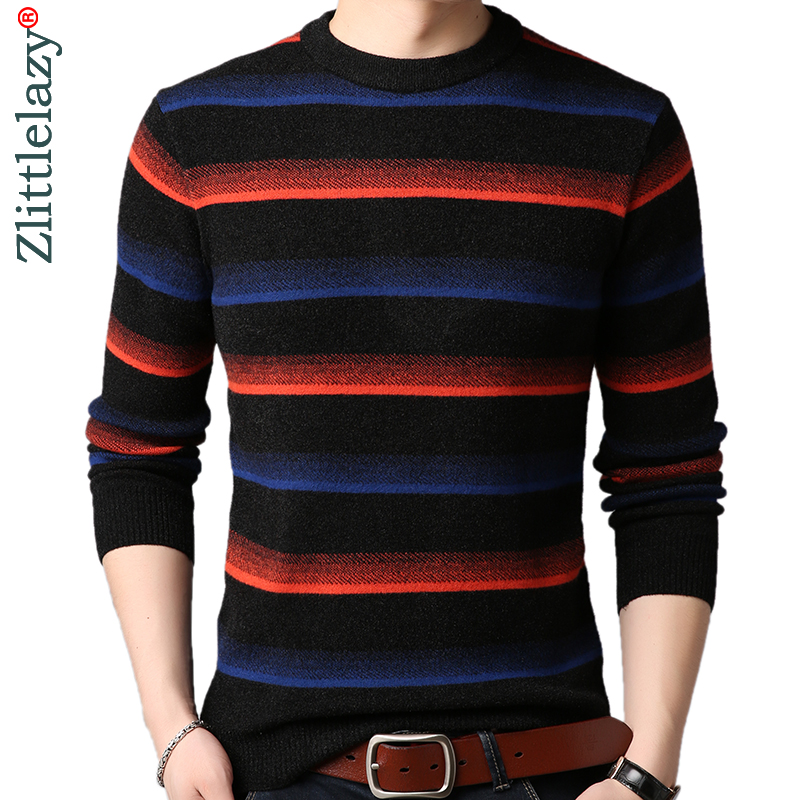 2019 Brand Thick Warm Winter Striped Knitted Pull Sweater Men Wear Jersey Mens Pullover Knit Mens Sweaters Male Fashions 90332