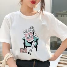 My Monday coffee T shirt Women personality Tshirt Harajuku aesthetics New summer Thin Section White Tops Female T-shirt clothing