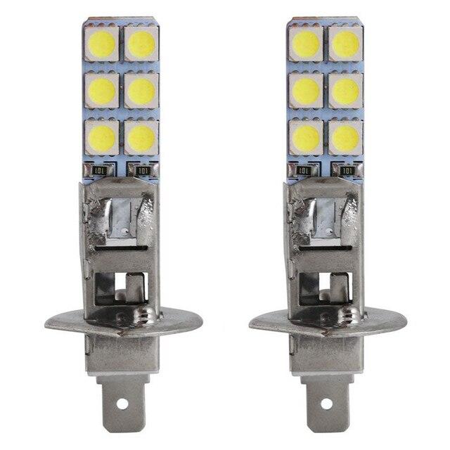 2 pièces H1 55W AMPOULES DE PHARES LED Kit Dentraînement de Brouillard de Jour Lampe 6000K Super BLANC 5050 12LED ampoules Phares Navire Livraison Directe