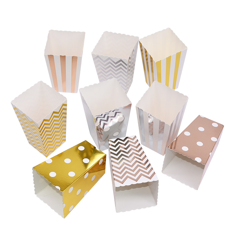 6pcs Gold Silver Popcorn Box Candy Snacks Favor Chevorn Dot Gift Box Birthday Party Wedding Movie Party Tableware Decor Supplies