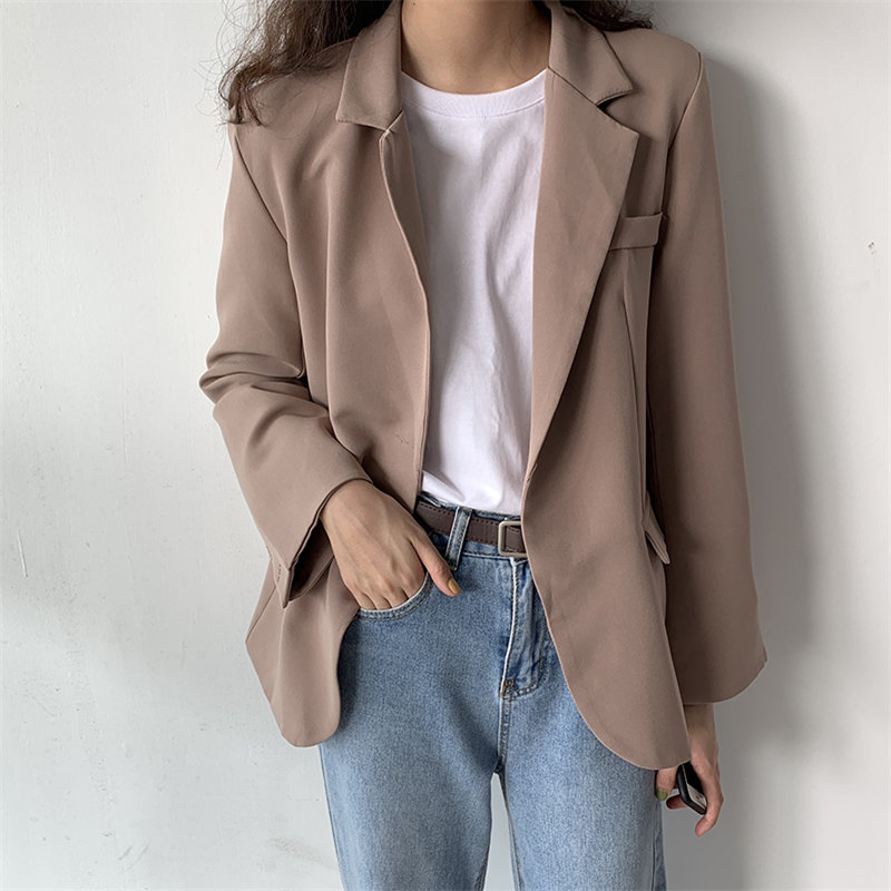 HziriP 2019 Chic Korea Vintage Elegant Office Ladies Retro OL Solid Full-Sleeved Autumn Loose All Match Casual Women Blazers