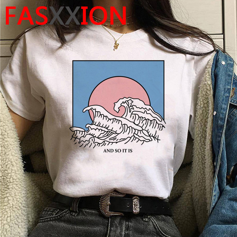 new vaporwave t shirt women summer top plus size the Great Wave <font><b>Aesthetic</b></font> <font><b>tshirt</b></font> grunge cartoon <font><b>graphic</b></font> tees korean style female image