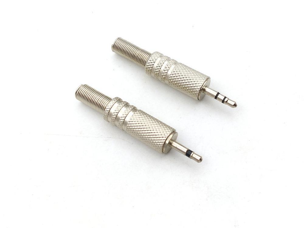 5pcs METAL 2.5mm Mono/Stereo Male Jack Plug Audio Connector Headphone