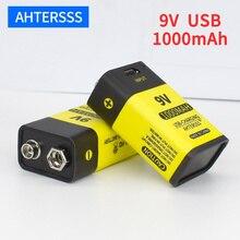 1-20 piece 9V 6F22 USB rechargeable battery lithium 6f22 9V li-ion batteries for multimeter Smoke alarm etc batteries uni t ut203 1 4 lcd digital clamp multimeter red black 1 x 9v 6f22 battery