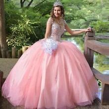 Skirt Quinceanera-Dresses Ball-Gown Prom-Dress Satin Puffy Birthday-Party Pink Sweet 15