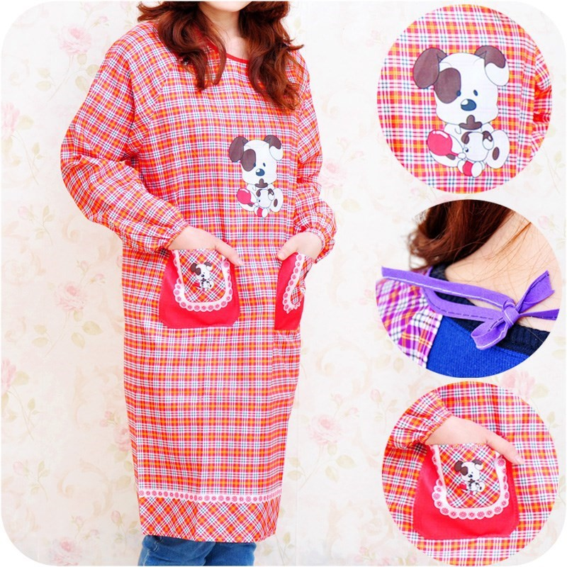 Korean-style-Style Kitchen Household With Sleeves Apron Cute Long Sleeve All Edges Included Overclothes Men's Women's Protective