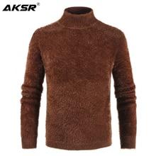 AKSR мужской вязаный свитер с высоким воротом кашемировый шерстяной зимний свитер мужской пуловер с высоким воротом мужской свитер