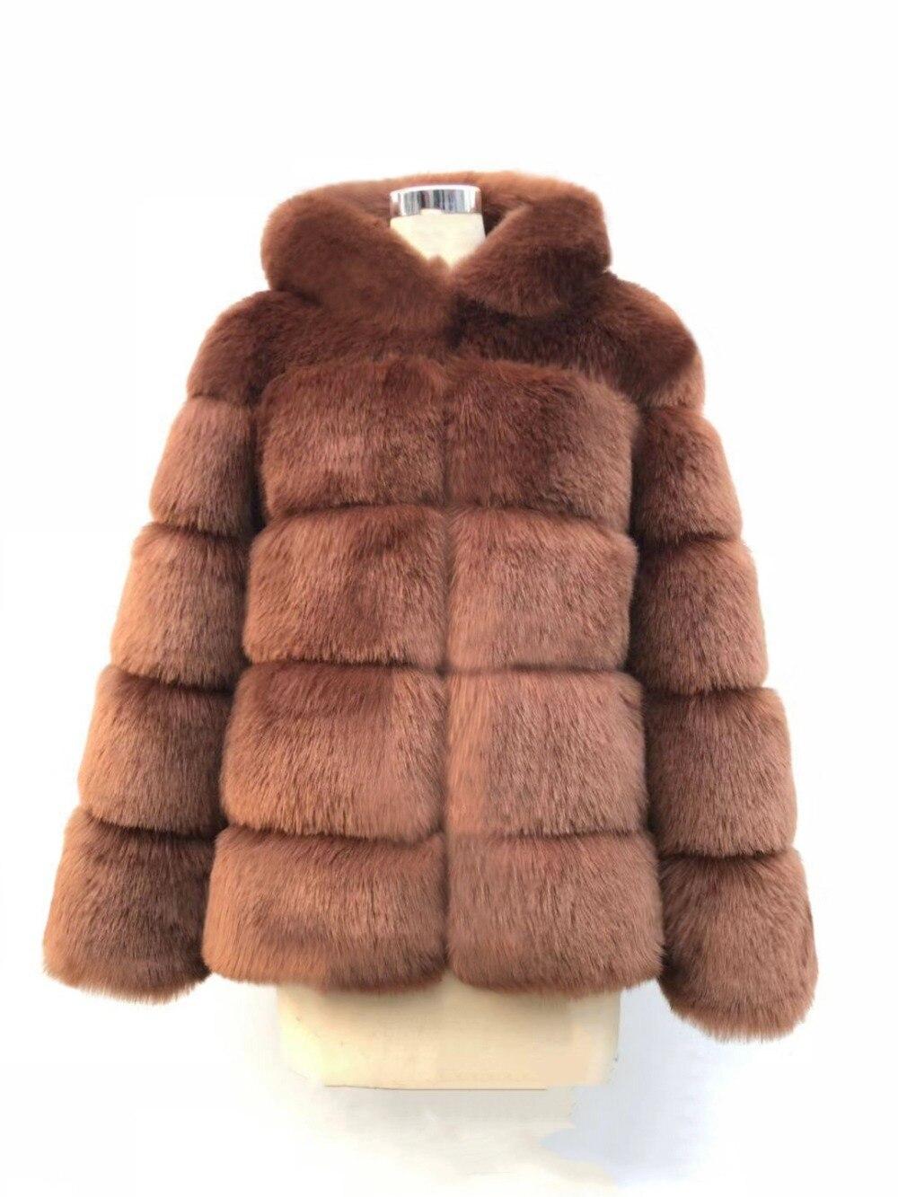 Hiver chaud fausse fourrure usine Faux renard fourrure manteau femmes moelleux fourrure artificielle à capuche manteaux pardessus - 5