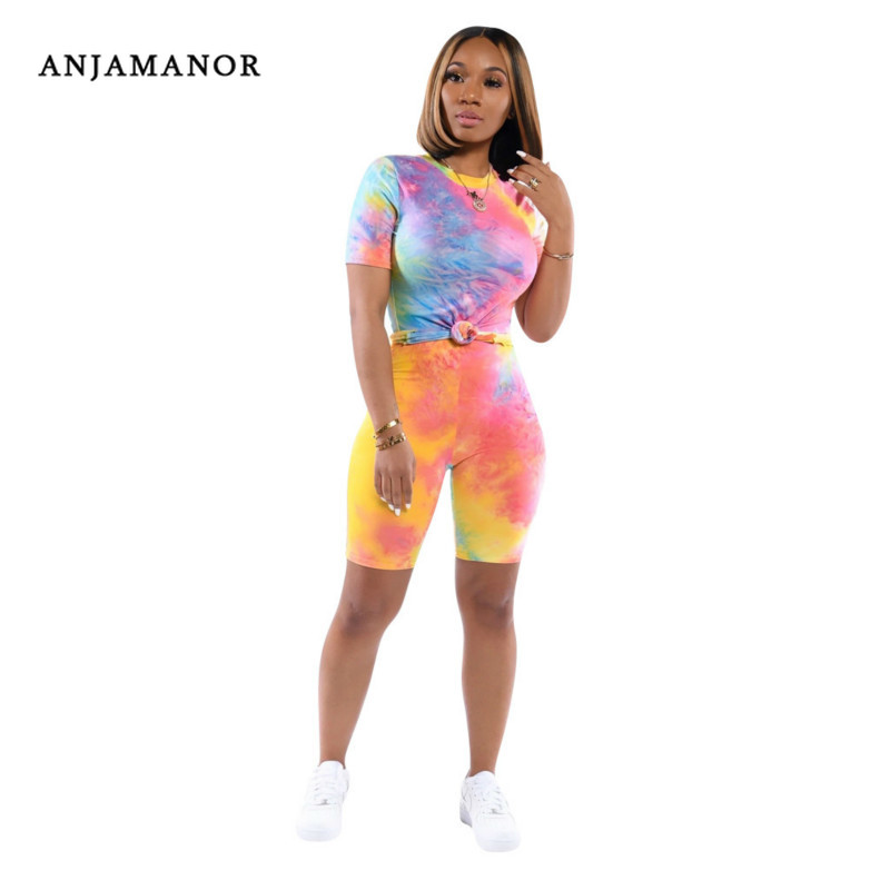 ANJAMANOR Tie Dye Print Two Piece Set Women Clothes Biker Shorts Plus Size Summer Outfits Sport Matching Women Sets D41-AE26