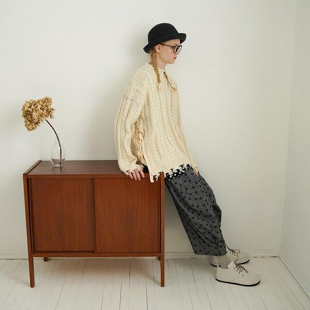 Imakokoni gris neuf points sarouel design original fleur pantalons décontractés ample 2019 nouveau 182377
