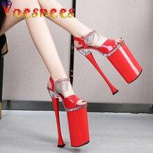 Damskie letnie buty 2021 sandały z dżetów platformy buty wysokie obcasy kobiety Fringe 26cm Stiletto Strip Pole Dance Shoes