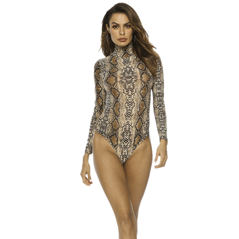 Women Bodysuit Rompers Snake Print Long Sleeve Turtleneck Body Suit Casual Bodysuit Elegant Jumpsuit Female