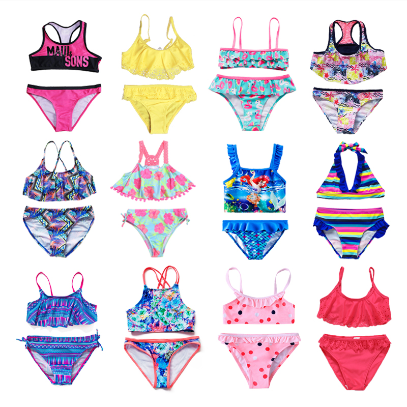 New 2019 Children's Swimwear Two Piece Flamingo Swimsuit For Girls 2019 Summer Bikini Sets Kids Swimsuit Lovely Swimwear G1-K337