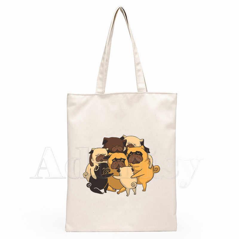 Pug Hond Dames Handtassen Doek Canvas Draagtas Winkelen Reizen Vrouwen Eco Herbruikbare Schouder Shopper Tassen Bolsas De Tela