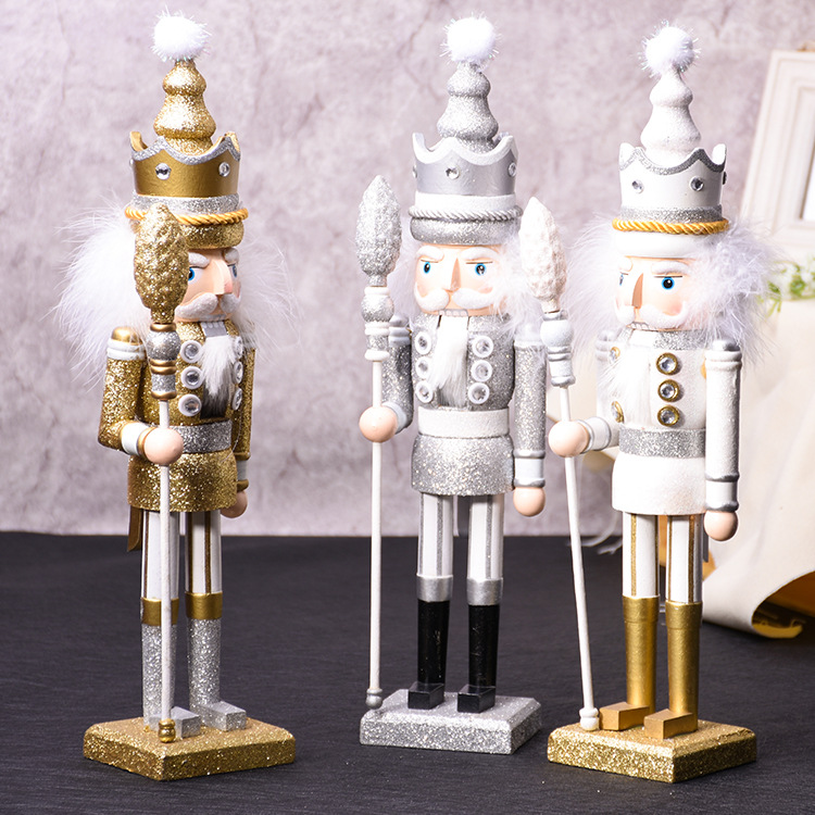 42CM Wooden Nutcracker Doll King Miniature Figurines Vintage Handcraft Puppet New Year Christmas Ornaments Home Decor