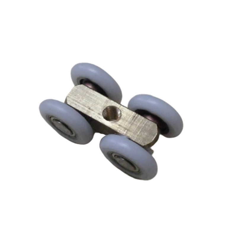 2PCS 21mm OD Sliding Door 4 Wheels Roller Home Bathroom Wardrobe Wood Door Copper Hanging Wheels For Furniture Hardware Wheel