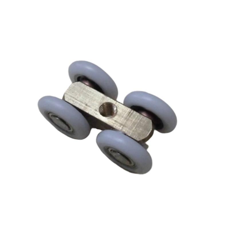 2PCS 21mm OD Sliding Door 4 Wheels Roller Home Bathroom Wardrobe Wood Door Copper Hanging Wheels For Furniture Hardware Wheel