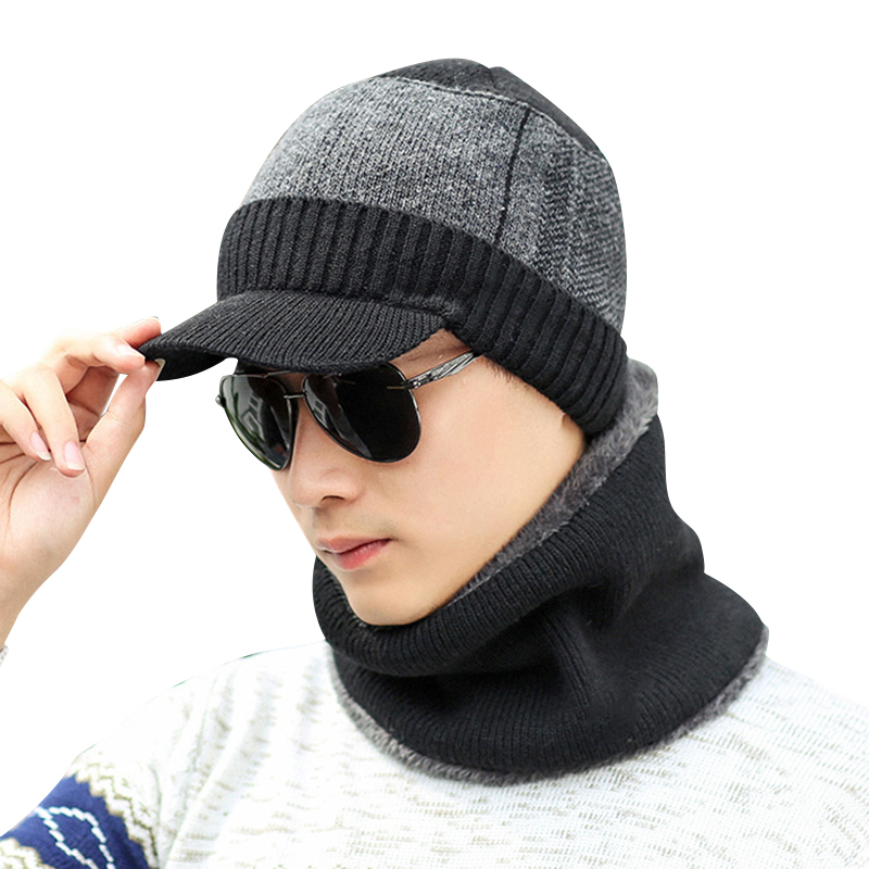 Men Winter Warm Cap With Scarf Knit Visor Beanie Fleece Lined Cap With Brim Knitted Scarf -MX8