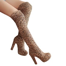 Over-the-knee Boots Sexy Knee-high Boots Female Winter Shoes Women Boots Slim Thigh High Boots Women Shoes Platform High Heels cheap Quanzixuan Flock Fits true to size take your normal size Round Toe Slip-On Leopard Square heel Basic Rubber Shallow Short Plush
