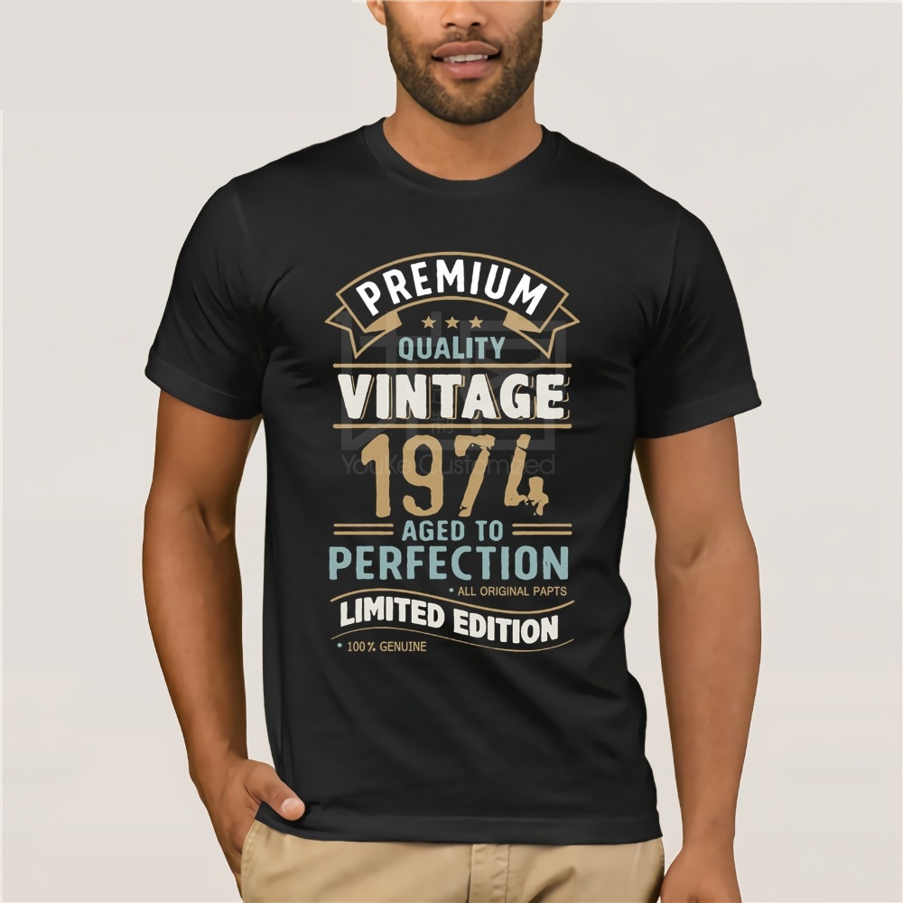 New Vintage Year 1974 - Limited Edition 43rd Birthday Men's Funny T-Shirt 43 Year Old T Shirt Summer Tops Tees Shirt Free Shirt