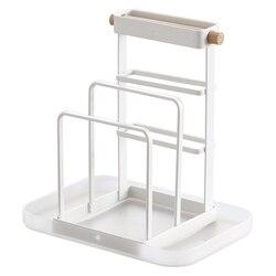 Stojak na noże deska do krojenia Chopper Holder spinacze do prania organizer kuchenny do przechowywania stojak wystawowy z tacą biały|Półki i stojaki|Dom i ogród -