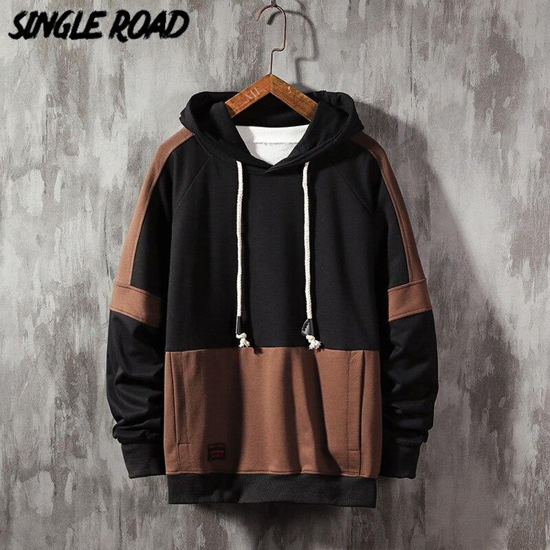 SingleRoad Mens Hoodies 2020 Oversized Harajuku Japanese Streetwear Sweatshirt Hip Hop Patchwork Hoodie Men Sweatshirts Male