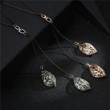 Мода женщин Девушка горный хрусталь лист кулон кожаная цепочка ожерелье Длинный свитер ювелирные изделия подарок