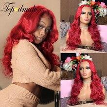 Topodmido 13x6 cor vermelha peruca dianteira do laço com o cabelo do bebê onda solta brasileiro remy cabelo parte dianteira do laço perucas de cabelo humano para mulher