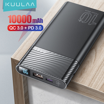 KUULAA Power Bank 10000mAh QC PD 3.0 PoverBank Fast Charging PowerBank 10000 mAh USB External Battery Charger For Xiaomi Mi 10 1