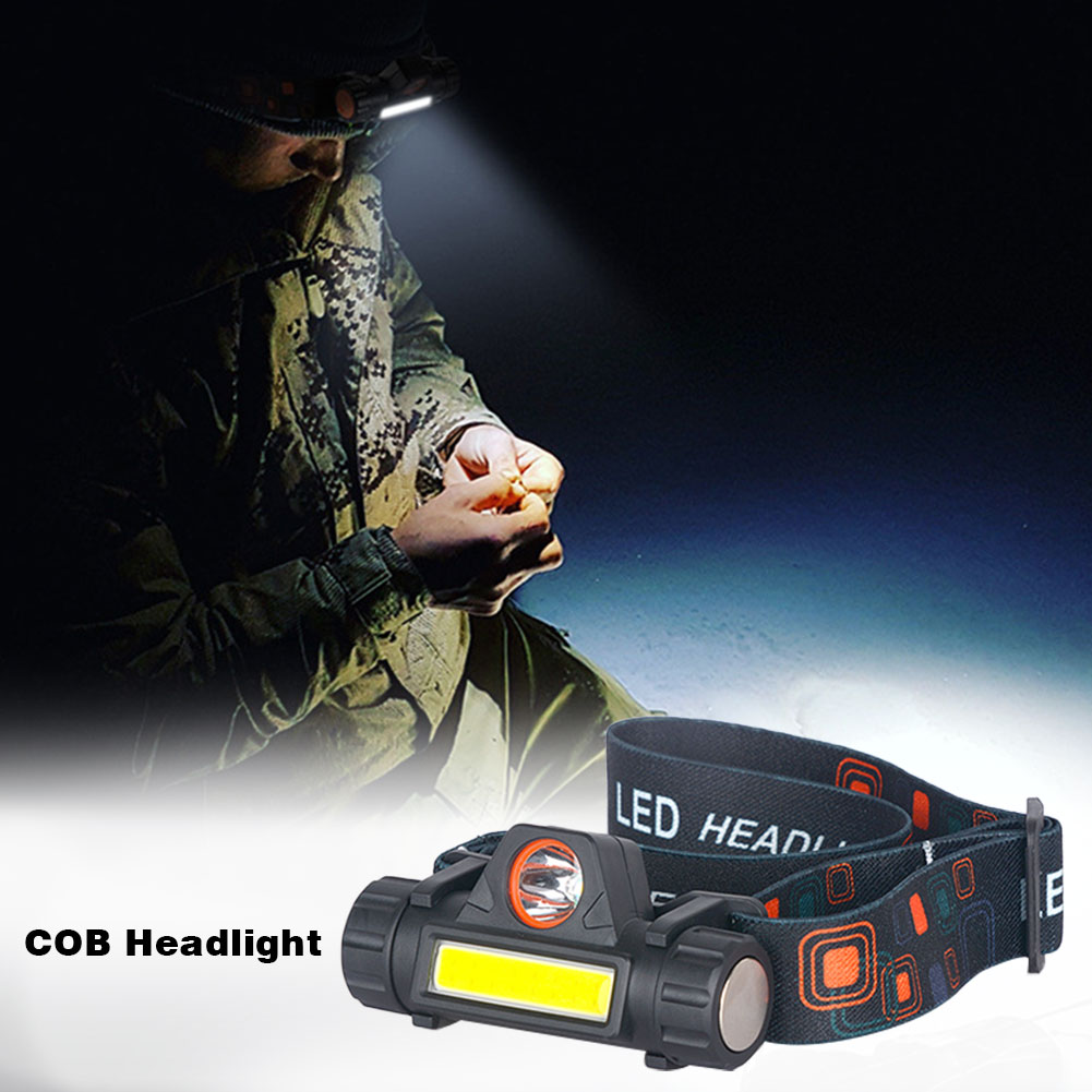 Portable Mini Flashlight Lantern COB Led Headlamp Built-in 18650 Battery For Outdoor Camping Headlight Lighting