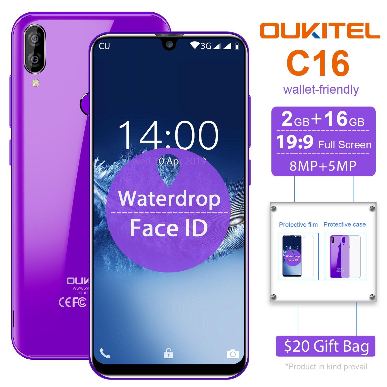 "OUKITEL C16 5.71"" HD+ 19:9 WaterDrop Smartphone Fingerprint Android 9.0 Mobile Phone MT6580P 2G RAM 16G ROM 2600mAh Unlock"