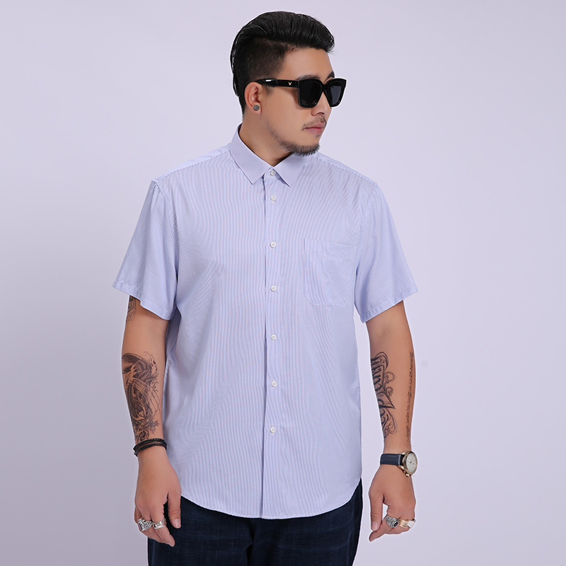 2020 New 8XL 6XL Brand Men Short Sleeve Shirt Summer Leisure Oxford Striped Color Shirt For Youth Large Size Cotton Short Shirt