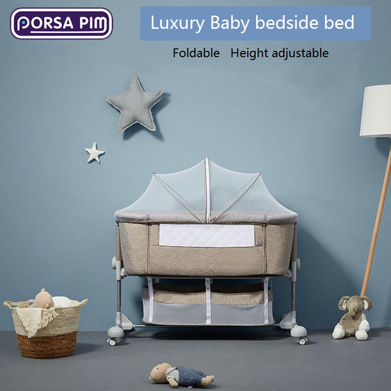 New Luxury Crib Baby Bed  Baby Bedside Bed Cradle Bed Portable Folding Height Adjustable Crib Bed
