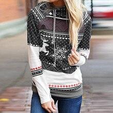 40@ Christmas Sweatshirt Hoodies Women Elk Snowflake Print Tops Autumn Winter Women's Hooded Sweatshirt Christmas Pullover
