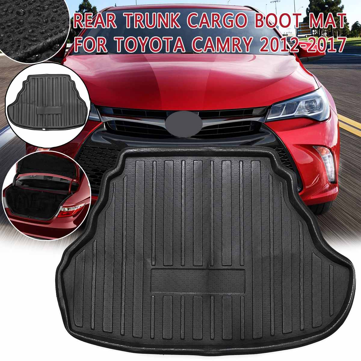 Car Cargo Boot Liner For Toyota Camry 2012 2013 2014-2017 Rear Trunk Floor Mat Tray Carpet Mud Protective Pad Auto Accessories