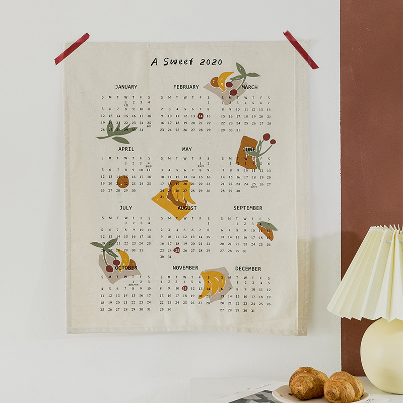 Ткань 2020 календарь гобелен ткань украшения дома аксессуары Япония корейский общежития для общежития настенные подвесные одеяло Декор 35x48 см|Декоративные гобелены|   | АлиЭкспресс - Для вечеров с детьми