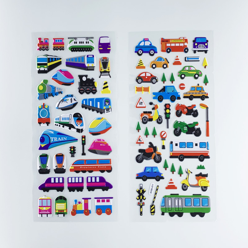 3 Sheets/set Kids 3D Cartoon Transportation Cars Train Plane Stickers For Boys DIY Bubble PVC Scrapbook Sticker Learning Toys