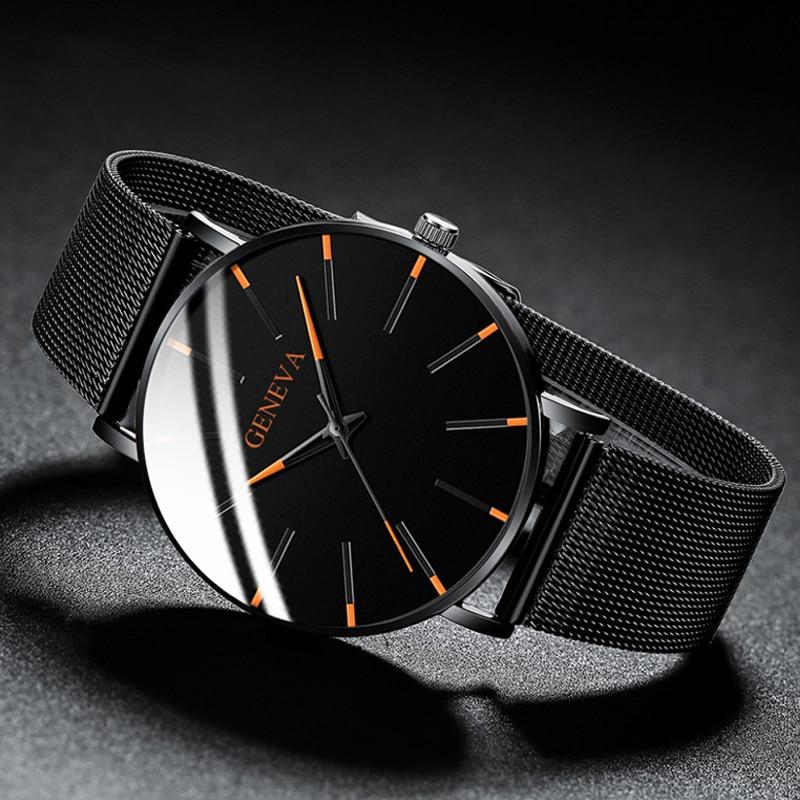 Men's Fashion Ultra Thin Watches Simple Men Business Stainless Steel Mesh Belt Quartz Watch Leather Strap Gift for Boyfriend 3