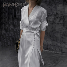 TWOTWINSTYLE White Striped Lace Up Dress For Women V Neck Long Sleeve High Waist